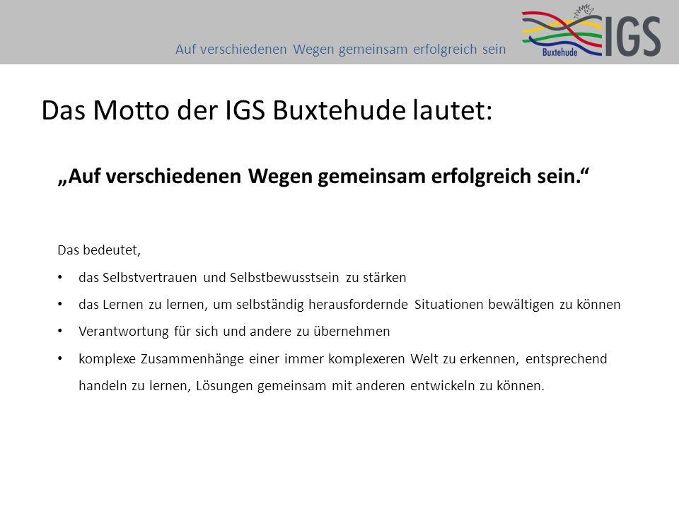 """Das Motto der IGS Buxtehude lautet: Auf verschiedenen Wegen gemeinsam erfolgreich sein """"Auf verschiedenen Wegen gemeinsam erfolgreich sein."""" Das bedeu"""