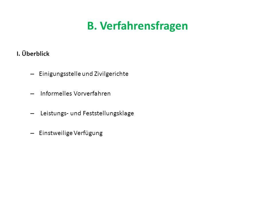 B. Verfahrensfragen I. Überblick – Einigungsstelle und Zivilgerichte – Informelles Vorverfahren – Leistungs- und Feststellungsklage – Einstweilige Ver