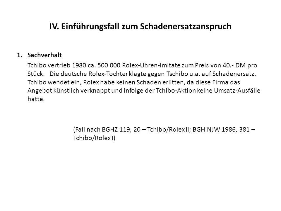 IV. Einführungsfall zum Schadenersatzanspruch 1.Sachverhalt Tchibo vertrieb 1980 ca. 500 000 Rolex-Uhren-Imitate zum Preis von 40.- DM pro Stück. Die