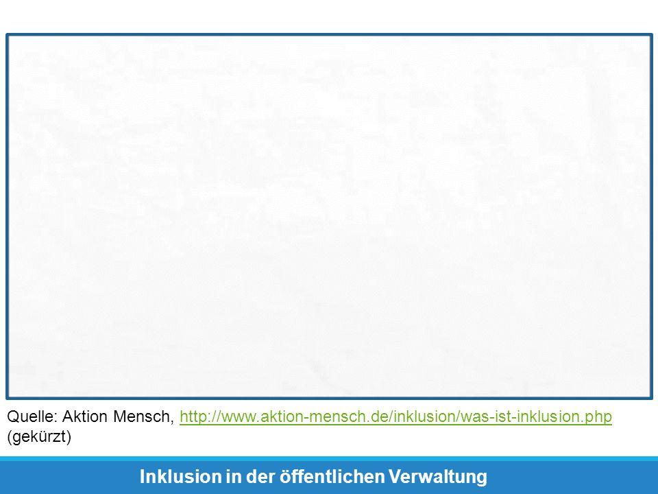 Quelle: Aktion Mensch, http://www.aktion-mensch.de/inklusion/was-ist-inklusion.php (gekürzt)http://www.aktion-mensch.de/inklusion/was-ist-inklusion.ph