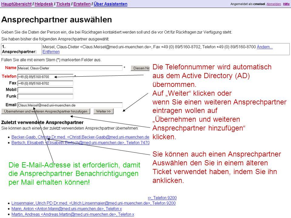 """Die Telefonnummer wird automatisch aus dem Active Directory (AD) übernommen. Auf """"Weiter"""" klicken oder wenn Sie einen weiteren Ansprechpartner eintrag"""