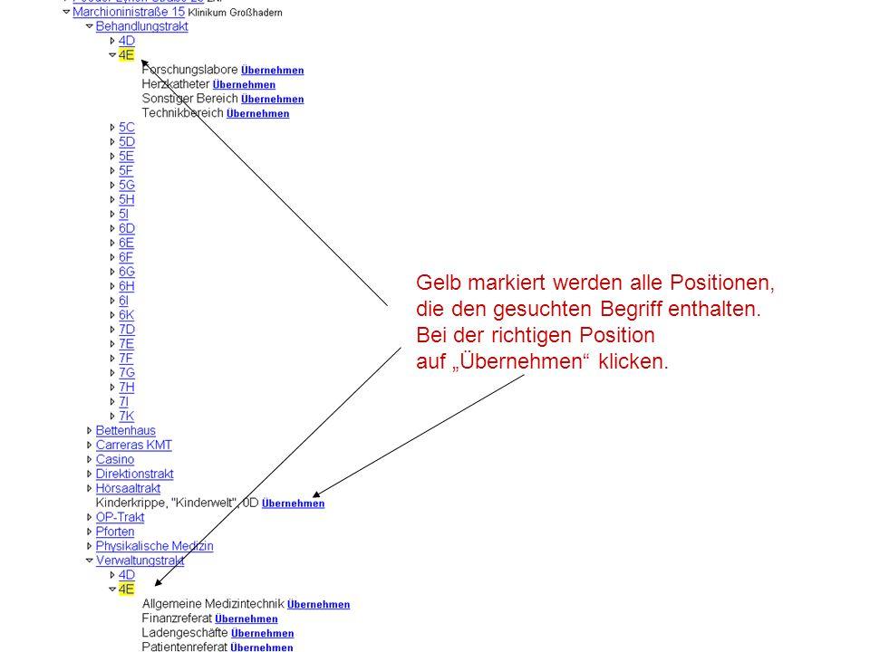 """Gelb markiert werden alle Positionen, die den gesuchten Begriff enthalten. Bei der richtigen Position auf """"Übernehmen"""" klicken."""