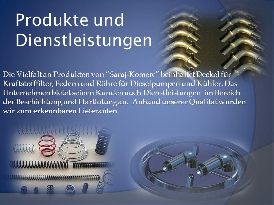 """Produkte und Dienstleistungen Die Vielfalt an Produkten von """"Saraj-Komerc"""" beinhaltet Deckel für Kraftstofffilter, Federn und Röhre für Dieselpumpen u"""