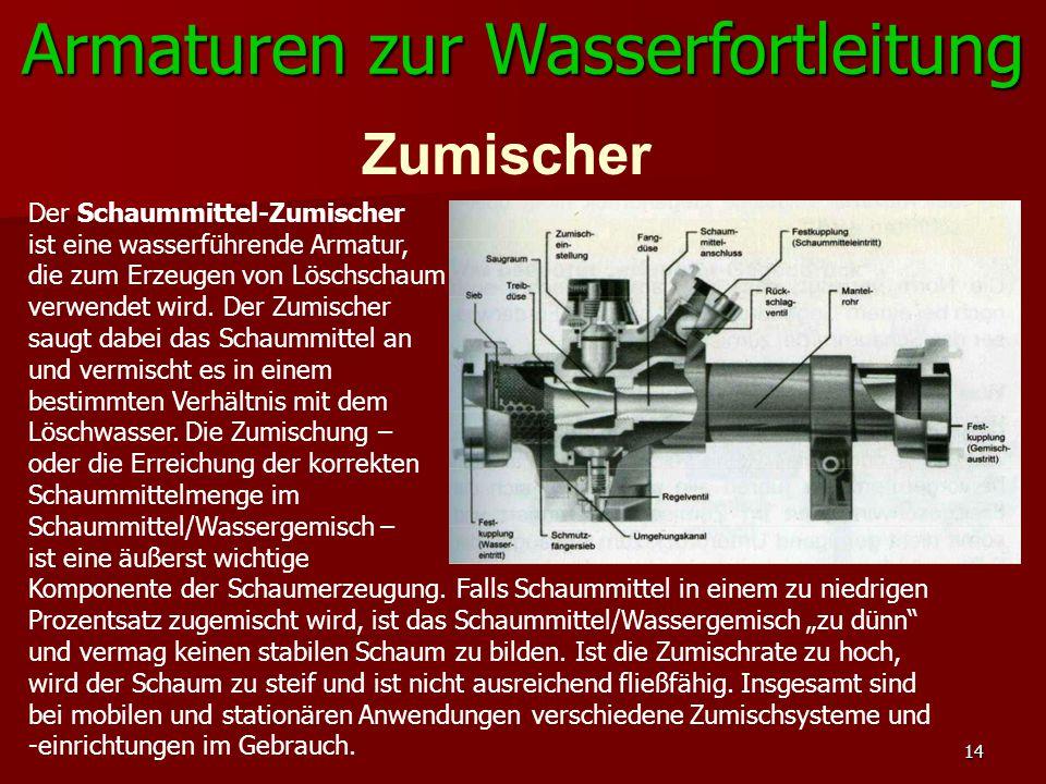 14 Armaturen zur Wasserfortleitung Zumischer Der Schaummittel-Zumischer ist eine wasserführende Armatur, die zum Erzeugen von Löschschaum verwendet wi