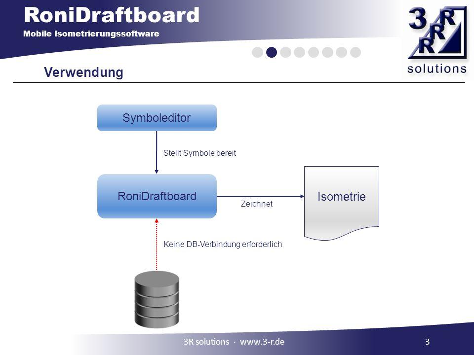 RoniDraftboard Mobile Isometrierungssoftware Verwendung 1.Einmalige Erstellung eines benutzerdefinierten Symbolkatalogs 2.Unmaßstäbliches Zeichnen der Isometrie unter Verwendung des Symbolkatalogs 3.Hinzufügen eines Zeichnungskopfes 43R solutions ∙ www.3-r.de