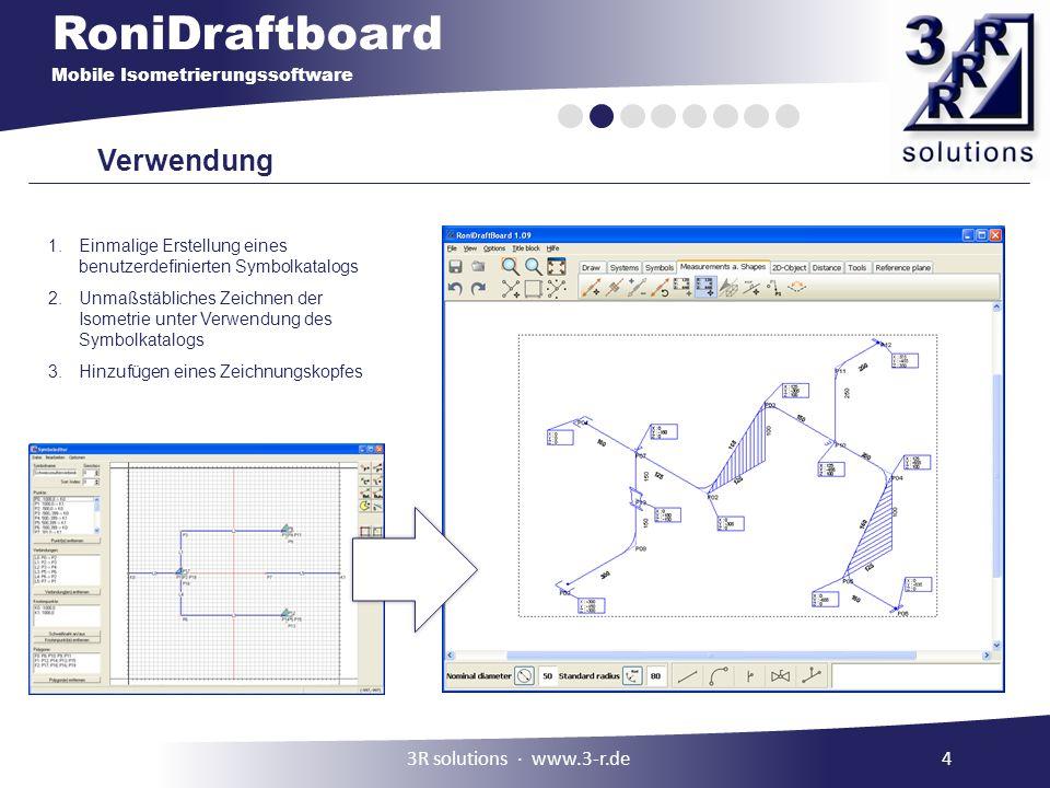 RoniDraftboard Mobile Isometrierungssoftware Verwendung 1.Einmalige Erstellung eines benutzerdefinierten Symbolkatalogs 2.Unmaßstäbliches Zeichnen der