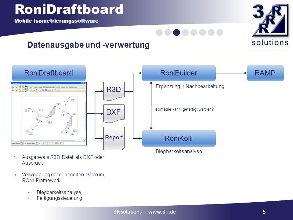 RoniDraftboard Mobile Isometrierungssoftware Datenausgabe und -verwertung Biegbarkeitsanalyse Ergänzung / Nachbearbeitung Isometrie kann gefertigt wer