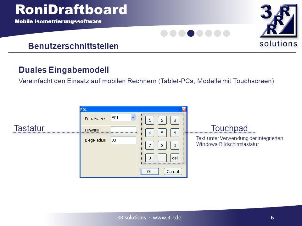 RoniDraftboard Mobile Isometrierungssoftware Benutzerschnittstellen TastaturTouchpad Text unter Verwendung der integrierten Windows-Bildschirmtastatur
