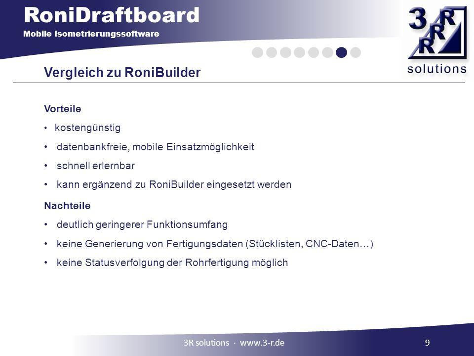 RoniDraftboard Mobile Isometrierungssoftware Vergleich zu RoniBuilder Vorteile kostengünstig datenbankfreie, mobile Einsatzmöglichkeit schnell erlernb
