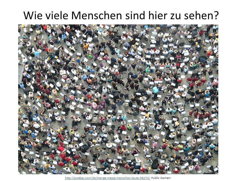 Wie viele Menschen sind hier zu sehen? http://pixabay.com/de/menge-masse-menschen-leute-58270/http://pixabay.com/de/menge-masse-menschen-leute-58270/