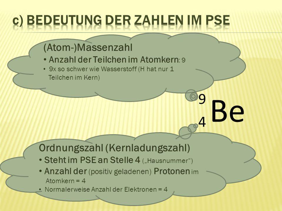 Be 9494 (Atom-)Massenzahl Anzahl der Teilchen im Atomkern : 9 9x so schwer wie Wasserstoff (H hat nur 1 Teilchen im Kern) Ordnungszahl (Kernladungszah