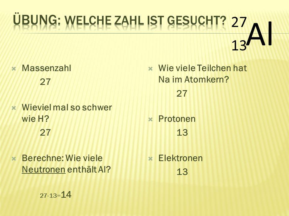  Massenzahl 27  Wieviel mal so schwer wie H? 27  Berechne: Wie viele Neutronen enthält Al? 27-13= 14 Al 27 13  Wie viele Teilchen hat Na im Atomke