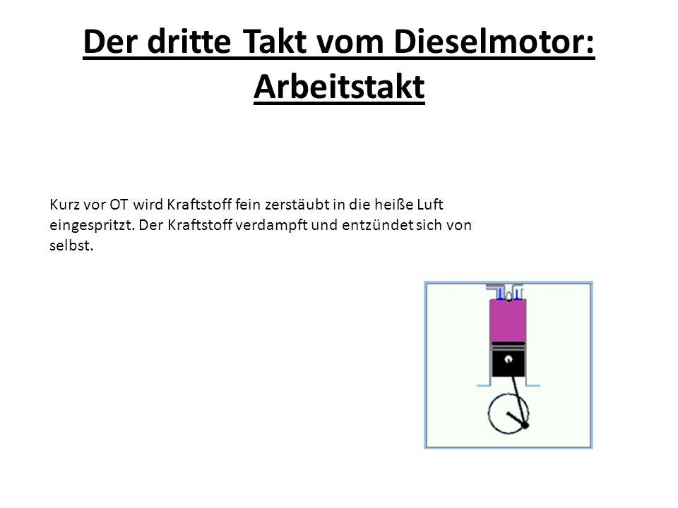 Der dritte Takt vom Dieselmotor: Arbeitstakt Kurz vor OT wird Kraftstoff fein zerstäubt in die heiße Luft eingespritzt. Der Kraftstoff verdampft und e