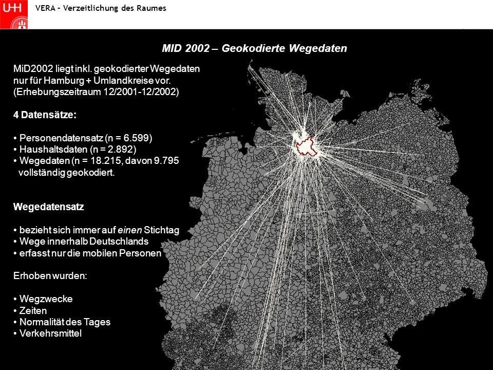 Statistik I - Fallstudie Wintersemester 2004/2005 Statistik MID 2002 – Geokodierte Wegedaten VERA – Verzeitlichung des Raumes MiD2002 liegt inkl.