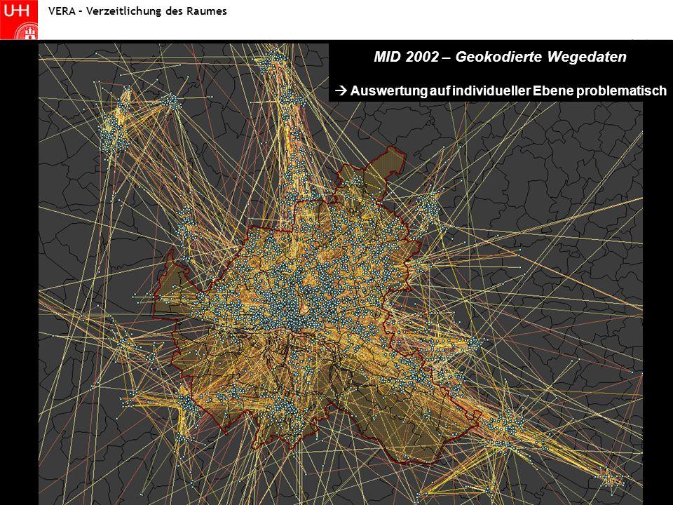 Statistik I - Fallstudie Wintersemester 2004/2005 Statistik VERA – Verzeitlichung des Raumes MID 2002 – Geokodierte Wegedaten  Auswertung auf individueller Ebene problematisch