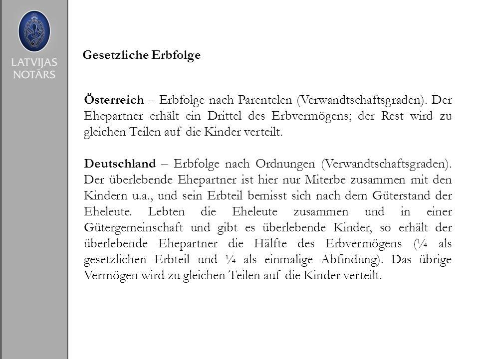 Gesetzliche Erbfolge Österreich – Erbfolge nach Parentelen (Verwandtschaftsgraden). Der Ehepartner erhält ein Drittel des Erbvermögens; der Rest wird