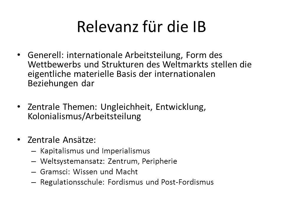 Relevanz für die IB Generell: internationale Arbeitsteilung, Form des Wettbewerbs und Strukturen des Weltmarkts stellen die eigentliche materielle Bas