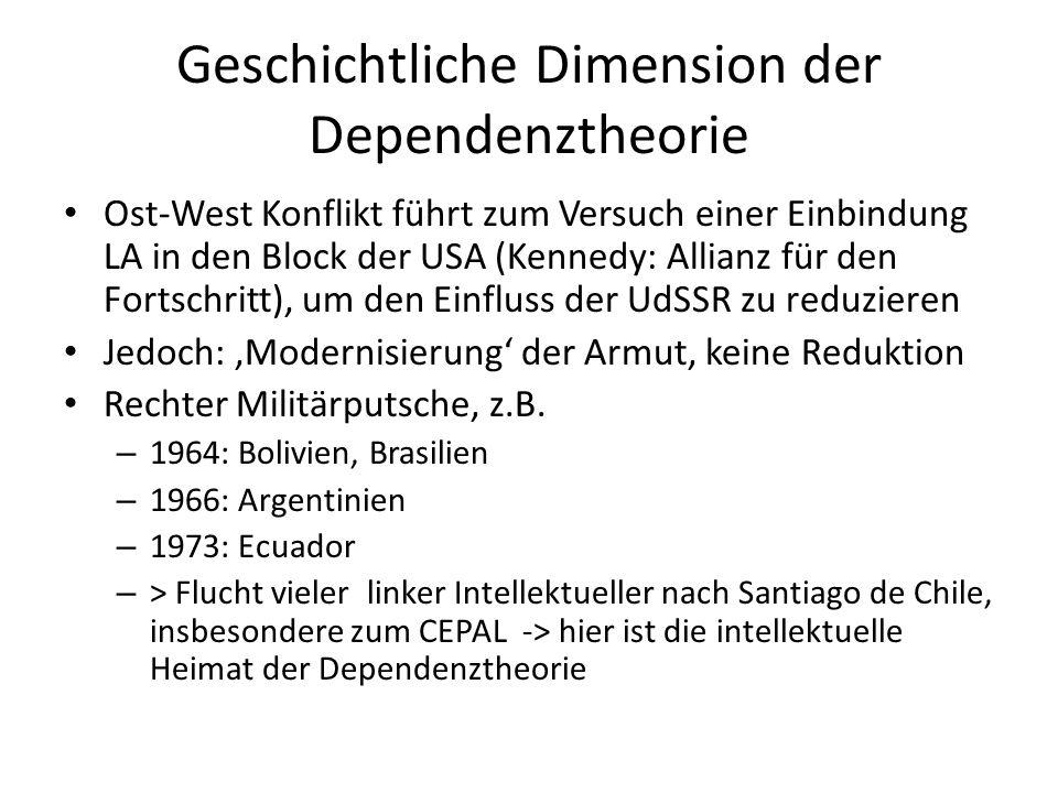 Geschichtliche Dimension der Dependenztheorie Ost-West Konflikt führt zum Versuch einer Einbindung LA in den Block der USA (Kennedy: Allianz für den F