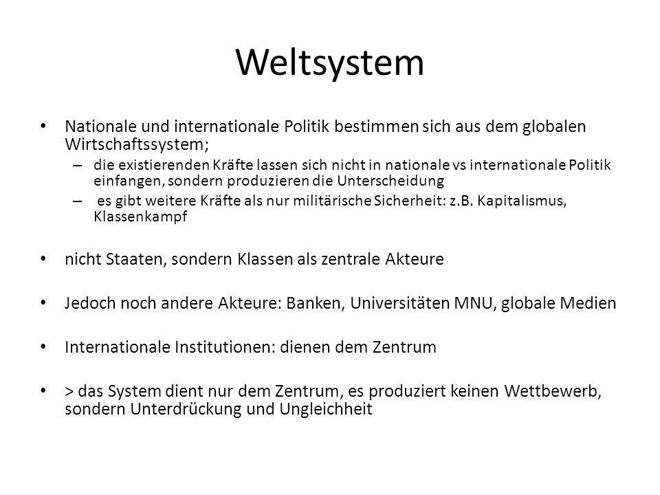 Weltsystem Nationale und internationale Politik bestimmen sich aus dem globalen Wirtschaftssystem; – die existierenden Kräfte lassen sich nicht in nat