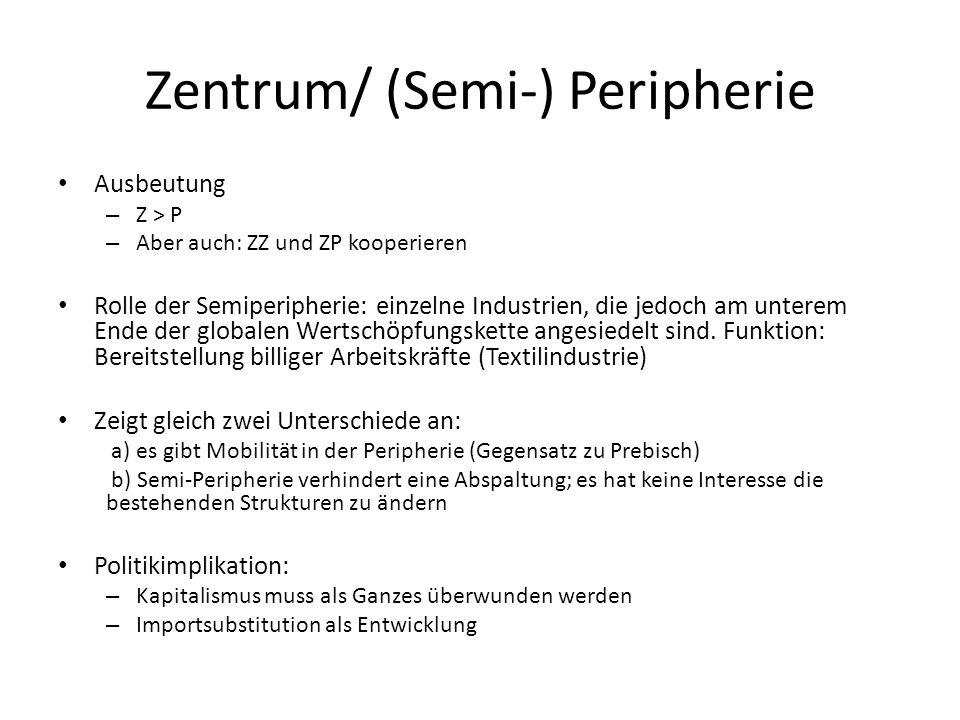 Zentrum/ (Semi-) Peripherie Ausbeutung – Z > P – Aber auch: ZZ und ZP kooperieren Rolle der Semiperipherie: einzelne Industrien, die jedoch am unterem