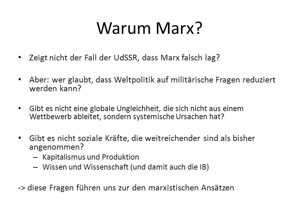 Warum Marx? Zeigt nicht der Fall der UdSSR, dass Marx falsch lag? Aber: wer glaubt, dass Weltpolitik auf militärische Fragen reduziert werden kann? Gi