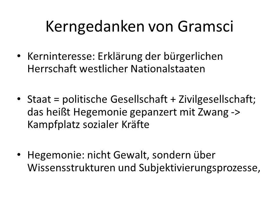 Kerngedanken von Gramsci Kerninteresse: Erklärung der bürgerlichen Herrschaft westlicher Nationalstaaten Staat = politische Gesellschaft + Zivilgesell
