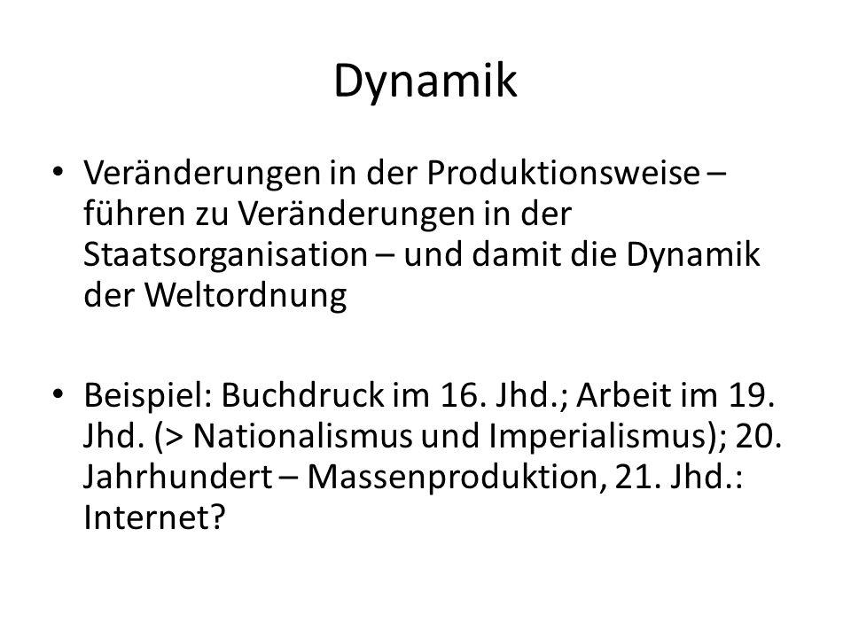 Dynamik Veränderungen in der Produktionsweise – führen zu Veränderungen in der Staatsorganisation – und damit die Dynamik der Weltordnung Beispiel: Bu