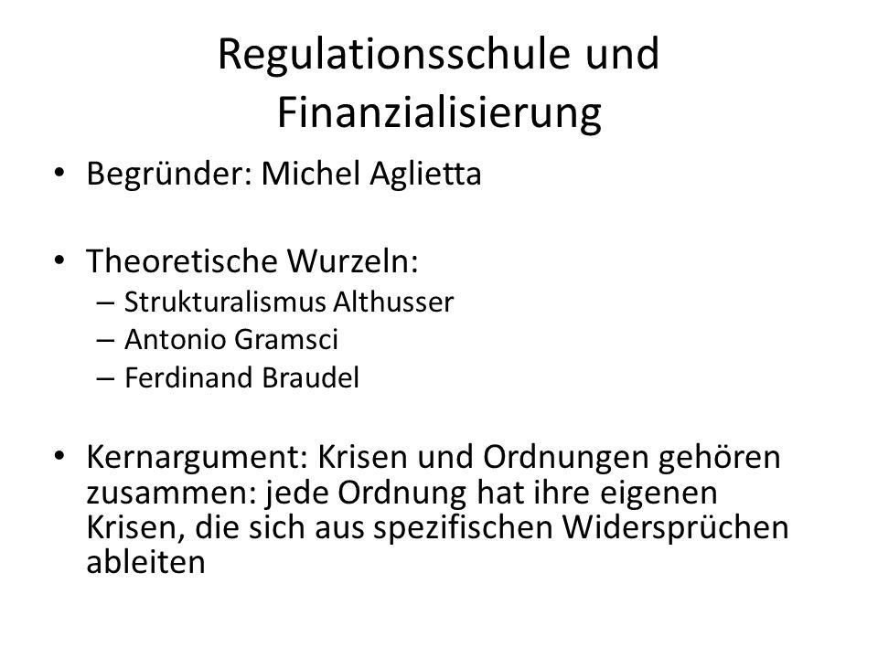 Regulationsschule und Finanzialisierung Begründer: Michel Aglietta Theoretische Wurzeln: – Strukturalismus Althusser – Antonio Gramsci – Ferdinand Bra