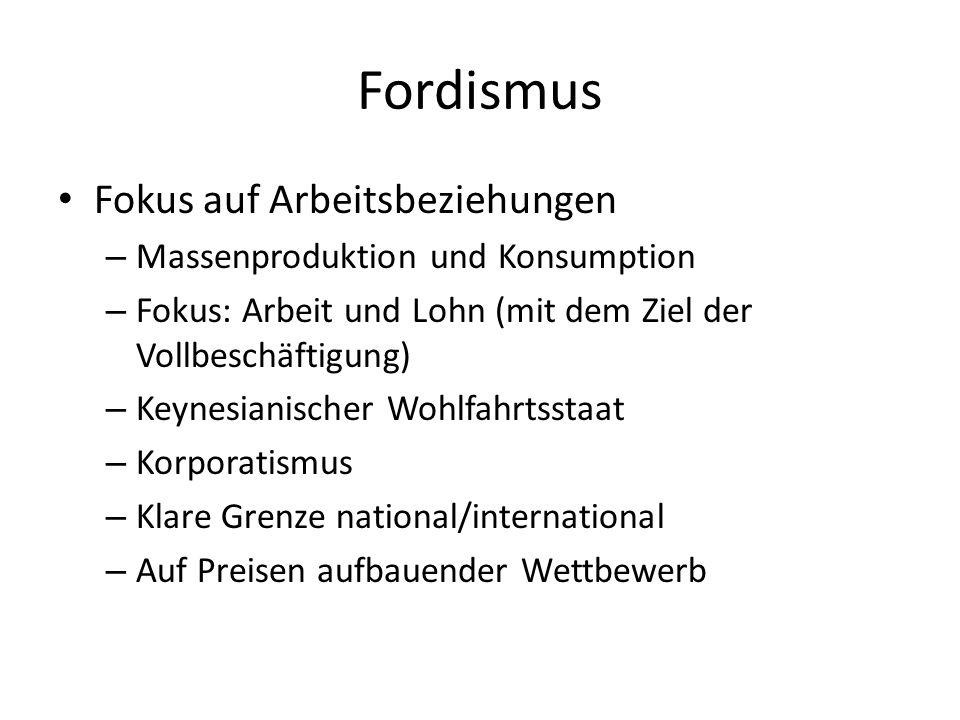 Fordismus Fokus auf Arbeitsbeziehungen – Massenproduktion und Konsumption – Fokus: Arbeit und Lohn (mit dem Ziel der Vollbeschäftigung) – Keynesianisc