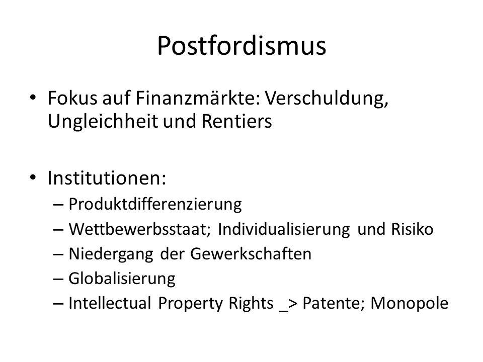 Postfordismus Fokus auf Finanzmärkte: Verschuldung, Ungleichheit und Rentiers Institutionen: – Produktdifferenzierung – Wettbewerbsstaat; Individualis