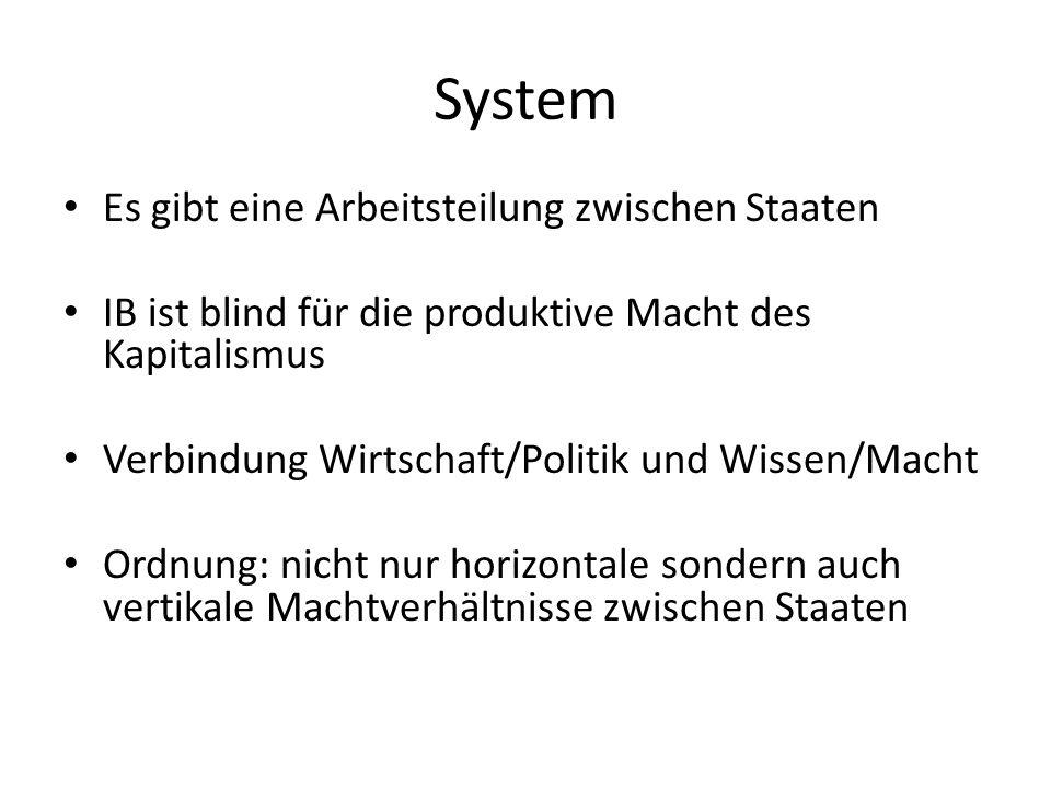 System Es gibt eine Arbeitsteilung zwischen Staaten IB ist blind für die produktive Macht des Kapitalismus Verbindung Wirtschaft/Politik und Wissen/Ma