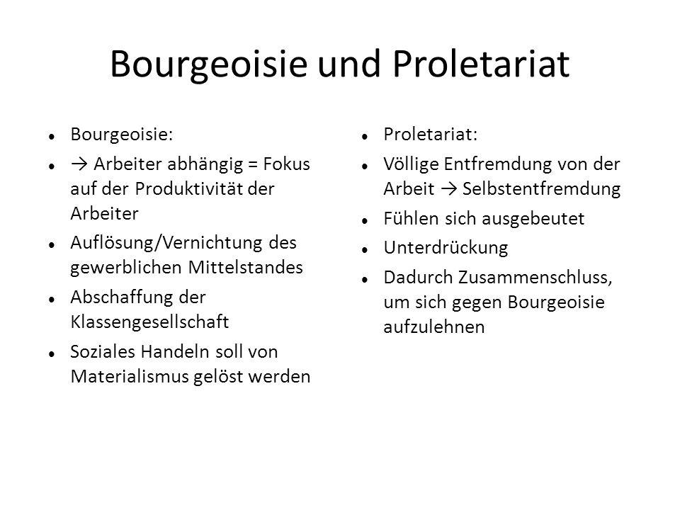 Bourgeoisie und Proletariat Bourgeoisie: → Arbeiter abhängig = Fokus auf der Produktivität der Arbeiter Auflösung/Vernichtung des gewerblichen Mittels