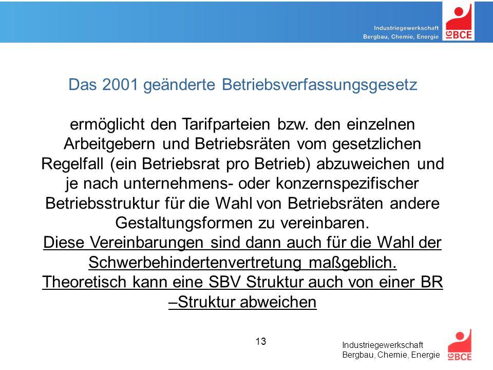 Industriegewerkschaft Bergbau, Chemie, Energie 13 Das 2001 geänderte Betriebsverfassungsgesetz ermöglicht den Tarifparteien bzw.