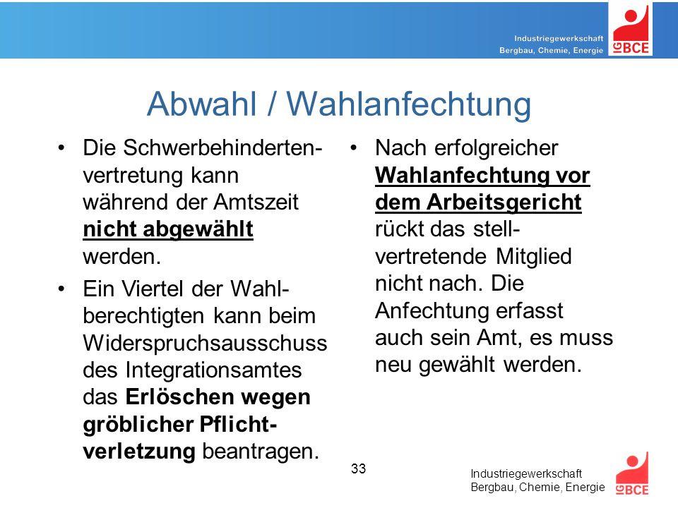 Industriegewerkschaft Bergbau, Chemie, Energie 33 Abwahl / Wahlanfechtung Die Schwerbehinderten- vertretung kann während der Amtszeit nicht abgewählt werden.