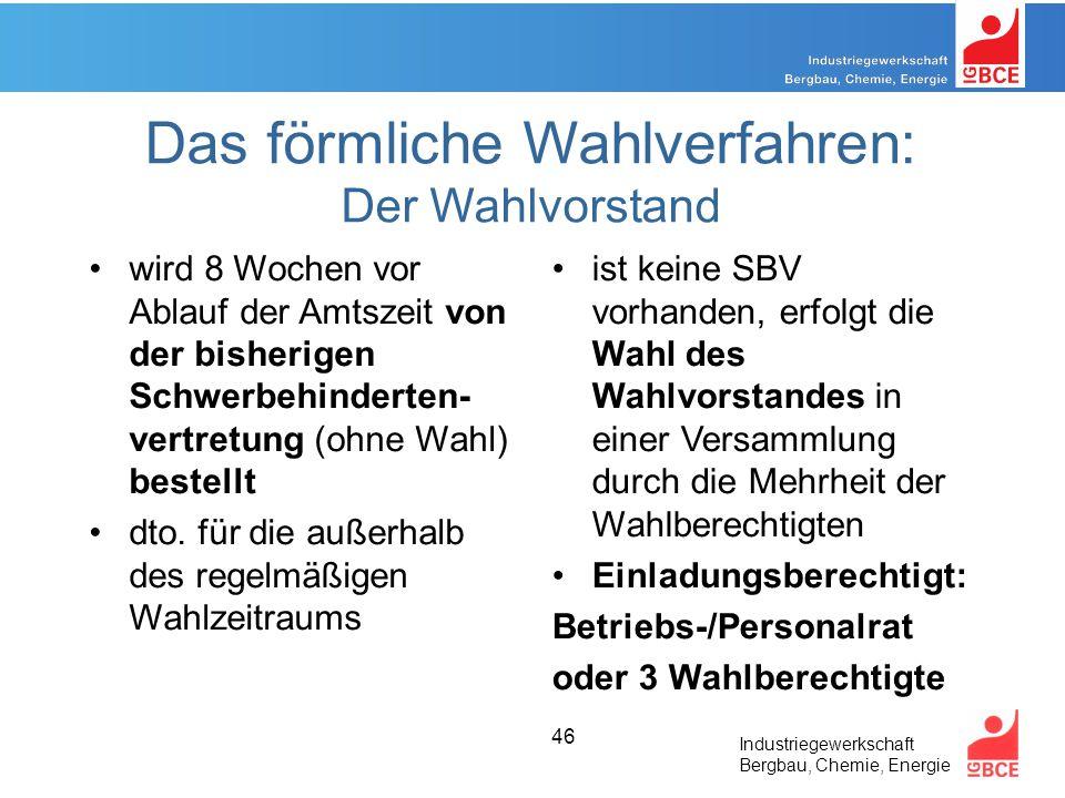 Industriegewerkschaft Bergbau, Chemie, Energie 46 Das förmliche Wahlverfahren: Der Wahlvorstand wird 8 Wochen vor Ablauf der Amtszeit von der bisherigen Schwerbehinderten- vertretung (ohne Wahl) bestellt dto.