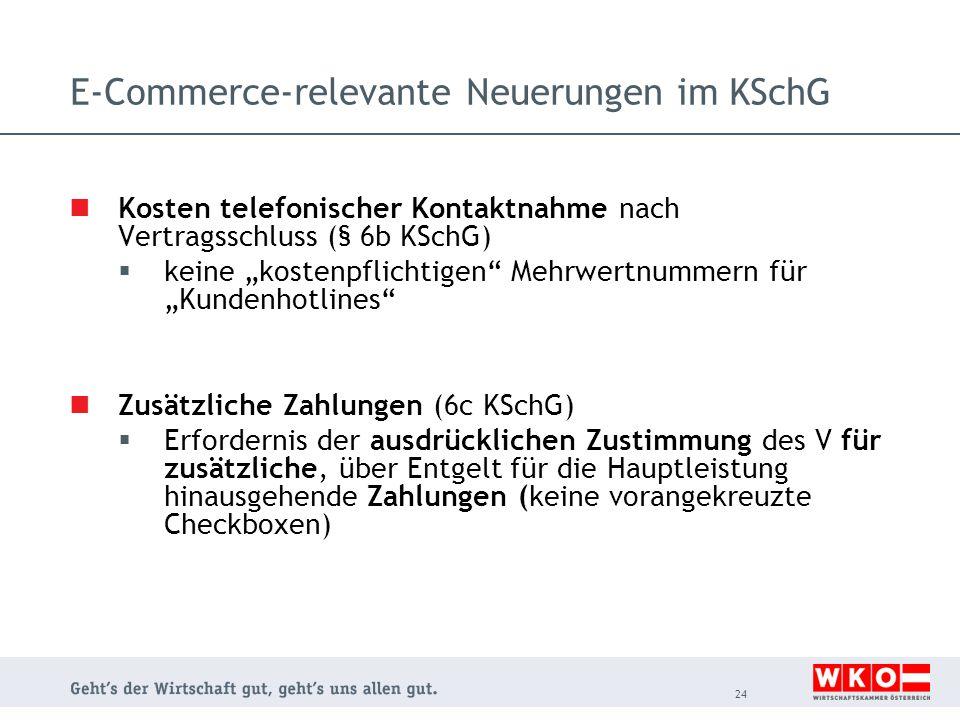 """E-Commerce-relevante Neuerungen im KSchG Kosten telefonischer Kontaktnahme nach Vertragsschluss (§ 6b KSchG)  keine """"kostenpflichtigen"""" Mehrwertnumme"""