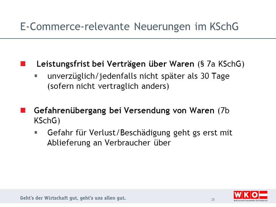 E-Commerce-relevante Neuerungen im KSchG Leistungsfrist bei Verträgen über Waren (§ 7a KSchG)  unverzüglich/jedenfalls nicht später als 30 Tage (sofe