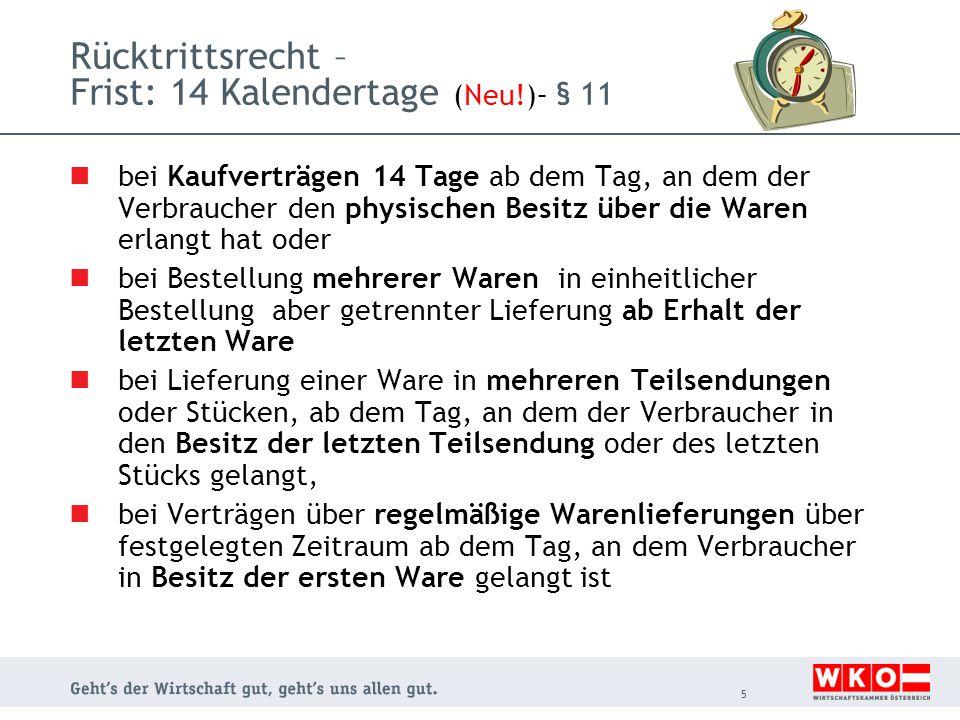 Rücktrittsrecht – Frist: 14 Kalendertage ( Neu.