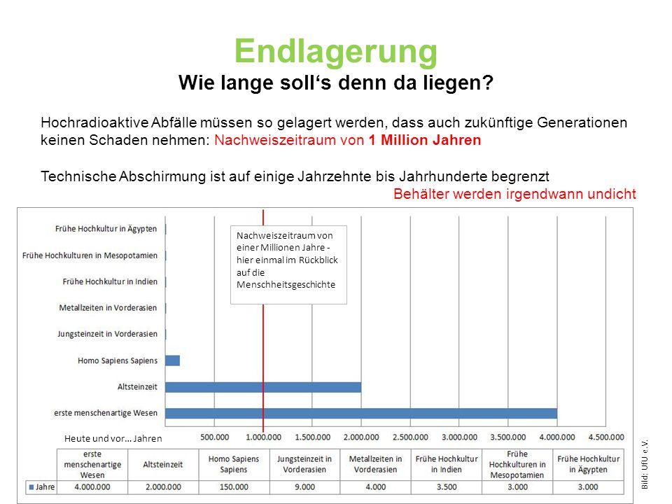 Endlagerung Wie lange soll's denn da liegen? Hochradioaktive Abfälle müssen so gelagert werden, dass auch zukünftige Generationen keinen Schaden nehme