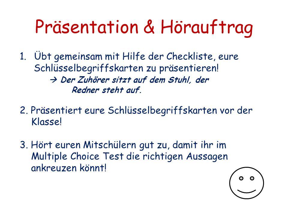 Präsentation & Hörauftrag 1.Übt gemeinsam mit Hilfe der Checkliste, eure Schlüsselbegriffskarten zu präsentieren!  Der Zuhörer sitzt auf dem Stuhl, d