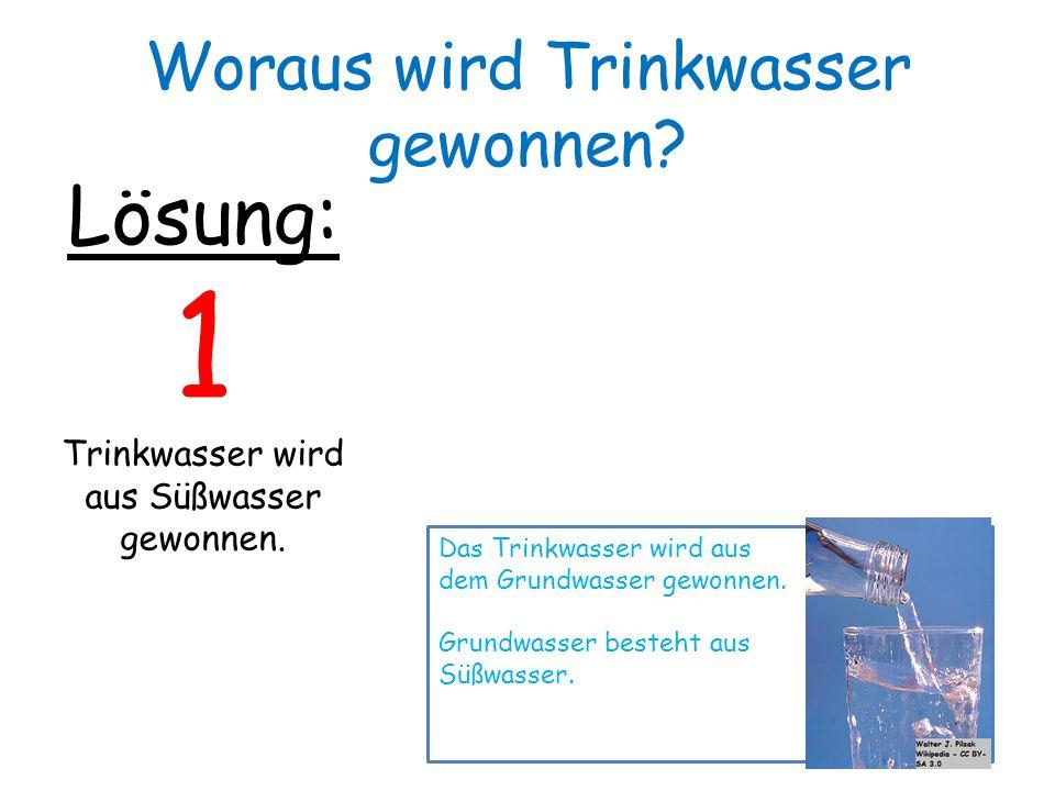 Lösung: 1 Trinkwasser wird aus Süßwasser gewonnen. Das Trinkwasser wird aus dem Grundwasser gewonnen. Grundwasser besteht aus Süßwasser. Woraus wird T