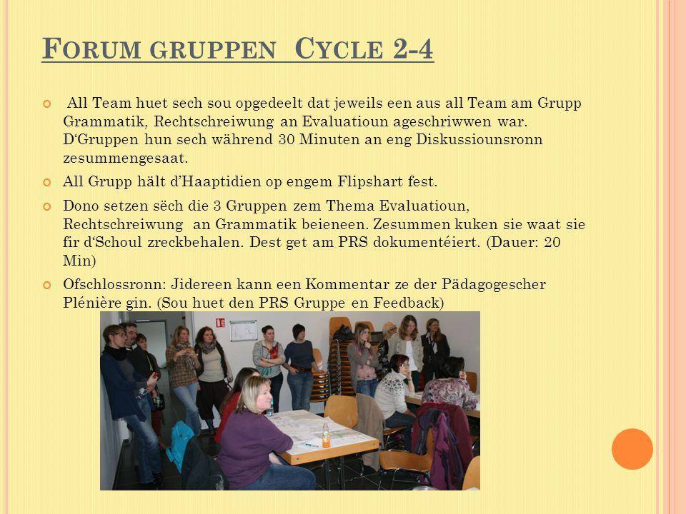 F ORUM GRUPPEN C YCLE 2-4 All Team huet sech sou opgedeelt dat jeweils een aus all Team am Grupp Grammatik, Rechtschreiwung an Evaluatioun ageschriwwen war.