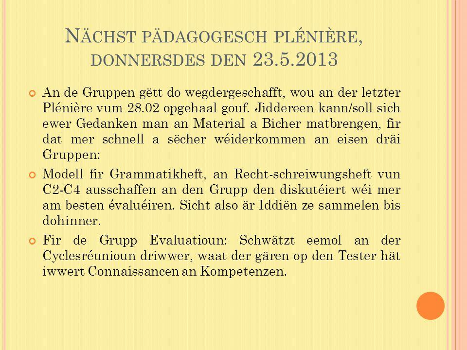 N ÄCHST PÄDAGOGESCH PLÉNIÈRE, DONNERSDES DEN 23.5.2013 An de Gruppen gëtt do wegdergeschafft, wou an der letzter Plénière vum 28.02 opgehaal gouf.