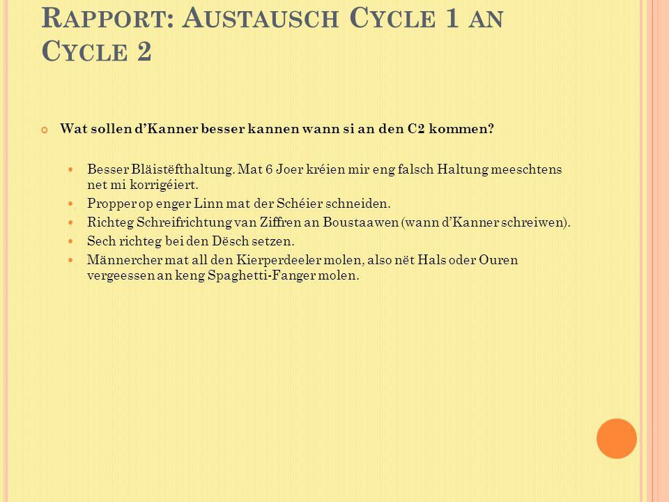 R APPORT : A USTAUSCH C YCLE 1 AN C YCLE 2 Wat sollen d'Kanner besser kannen wann si an den C2 kommen.