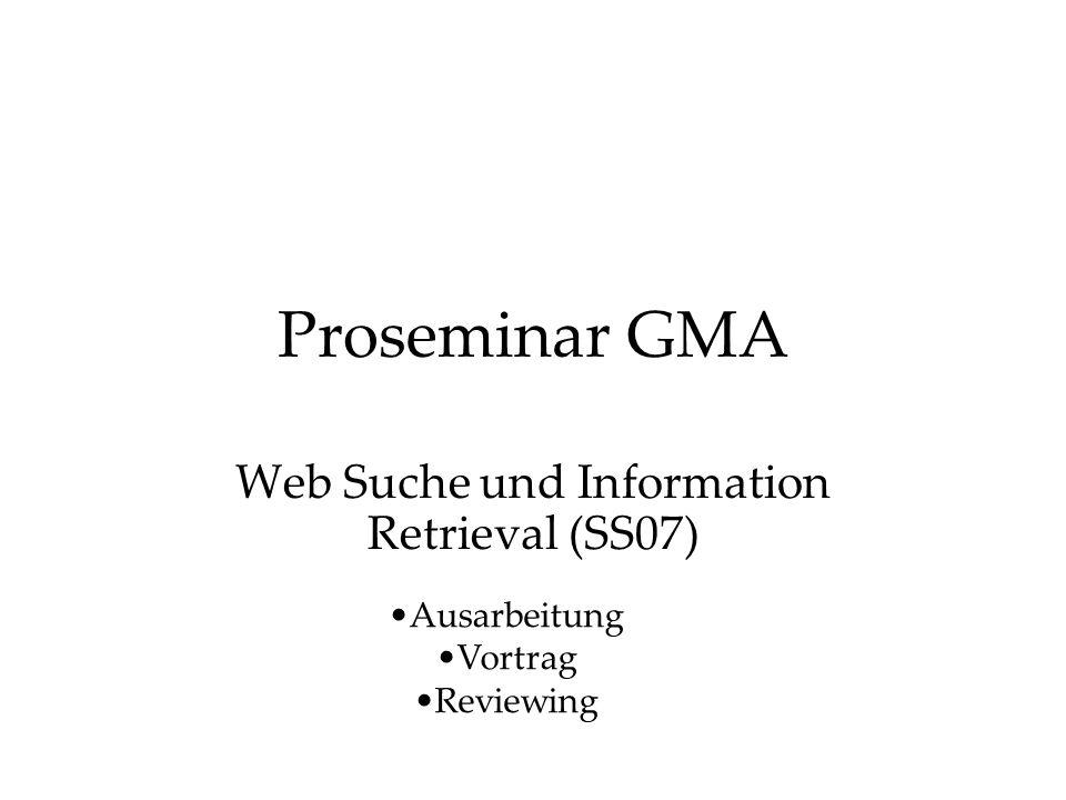 Proseminar GMA Web Suche und Information Retrieval (SS07) Ausarbeitung Vortrag Reviewing