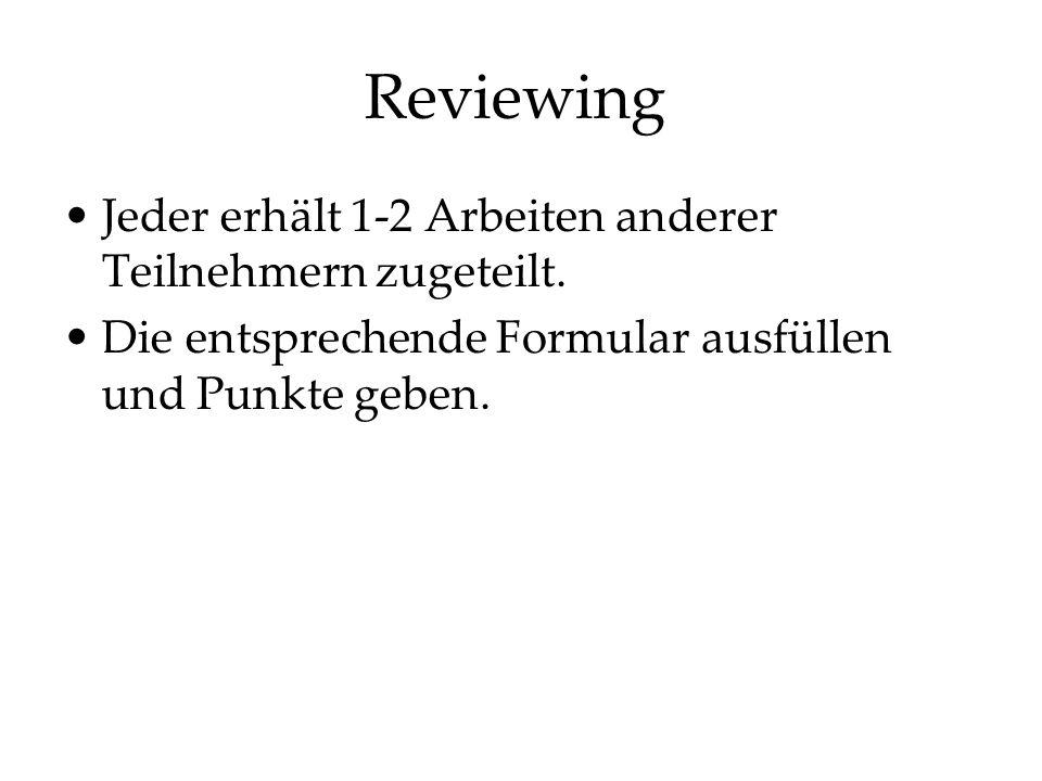 Reviewing Jeder erhält 1-2 Arbeiten anderer Teilnehmern zugeteilt. Die entsprechende Formular ausfüllen und Punkte geben.