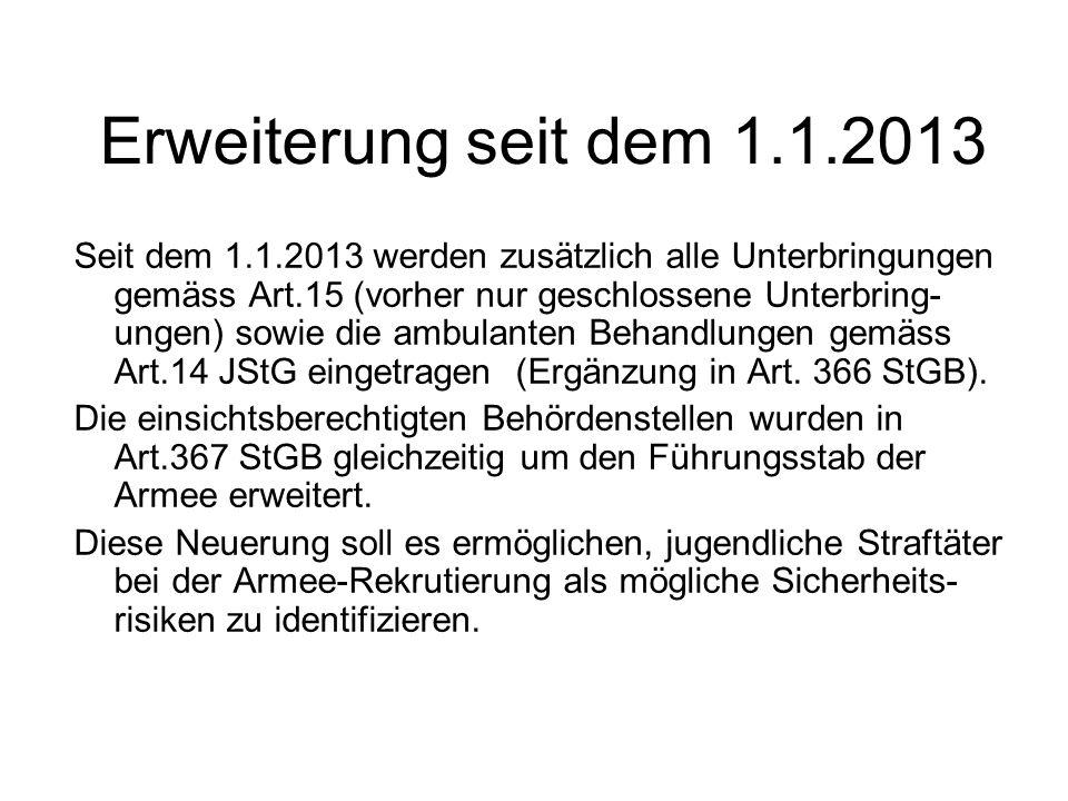 Erweiterung seit dem 1.1.2013 Seit dem 1.1.2013 werden zusätzlich alle Unterbringungen gemäss Art.15 (vorher nur geschlossene Unterbring- ungen) sowie