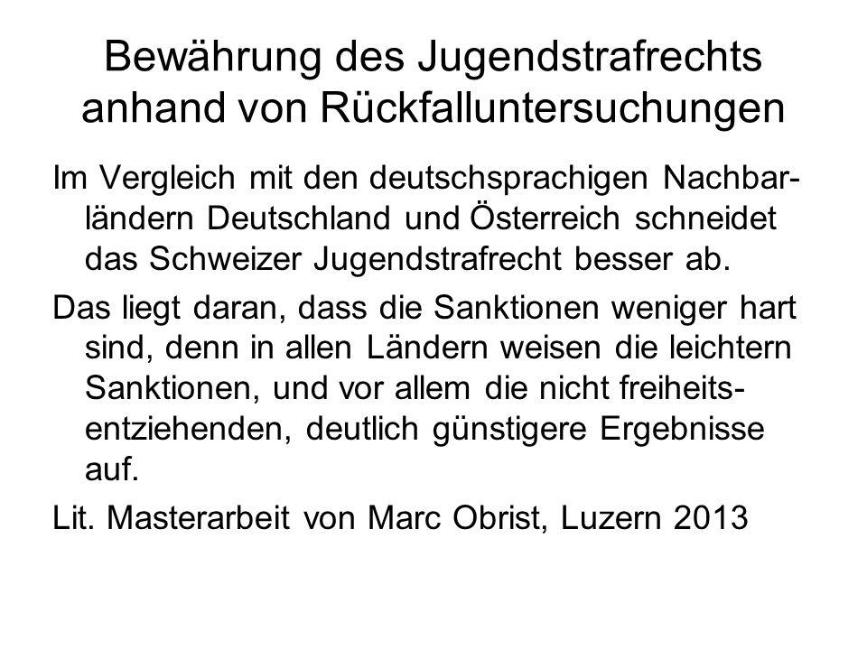 Bewährung des Jugendstrafrechts anhand von Rückfalluntersuchungen Im Vergleich mit den deutschsprachigen Nachbar- ländern Deutschland und Österreich s