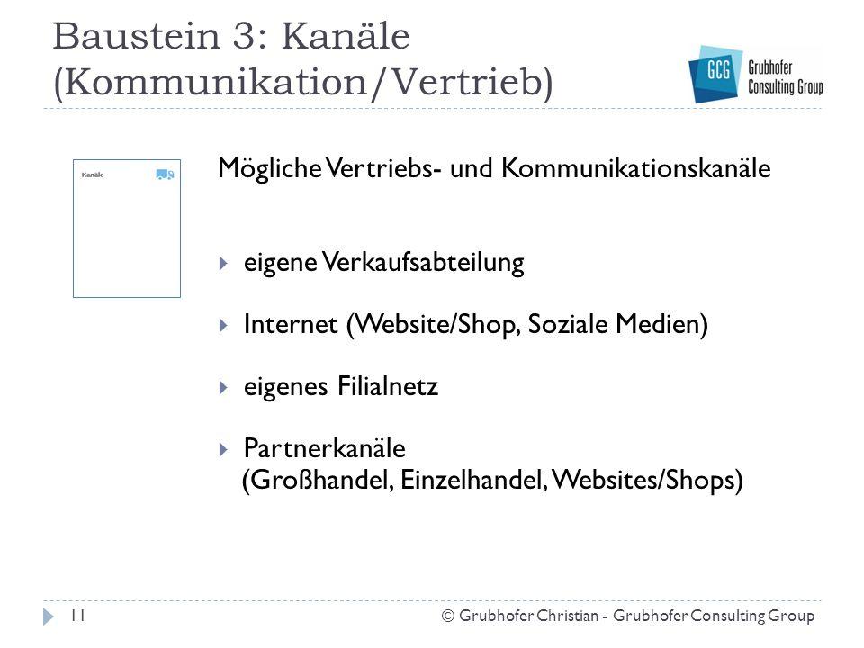 Baustein 3: Kanäle (Kommunikation/Vertrieb) 11© Grubhofer Christian - Grubhofer Consulting Group Mögliche Vertriebs- und Kommunikationskanäle  eigene