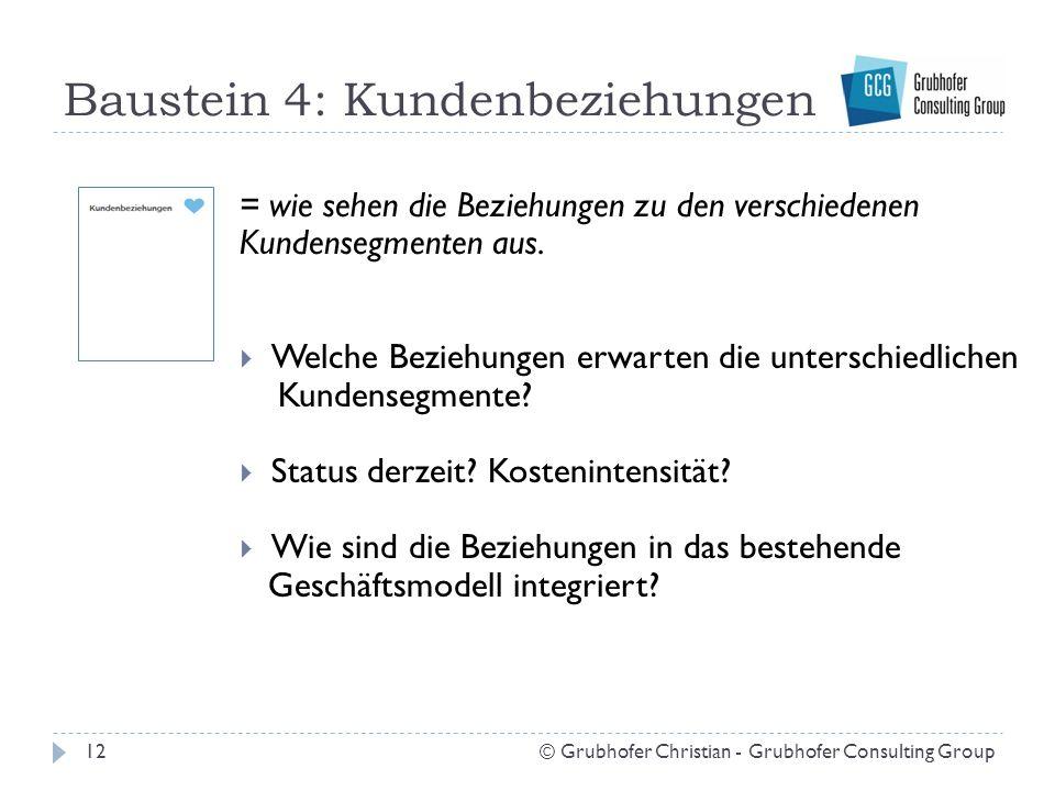 Baustein 4: Kundenbeziehungen 12© Grubhofer Christian - Grubhofer Consulting Group = wie sehen die Beziehungen zu den verschiedenen Kundensegmenten aus.